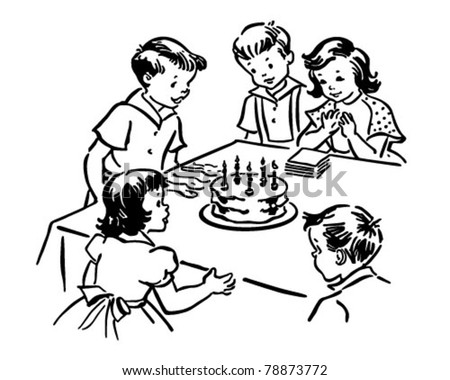 Children's Birthday Party - Retro Clipart Illustration - stock vector