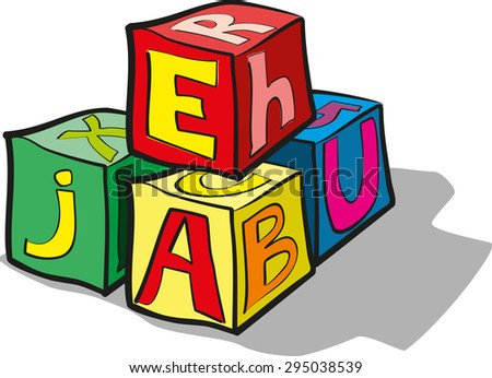 children's blocks with letters - stock vector