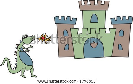 children's castle and dragon. see my matching castle for girls. - stock vector