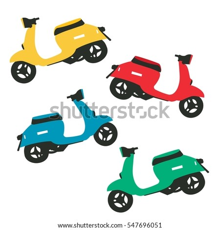 Children's colored mopeds. Vector, isolated object.