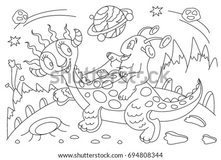 Childrens Coloring Book Cartoon Alien On Stock Vector (2018 ...
