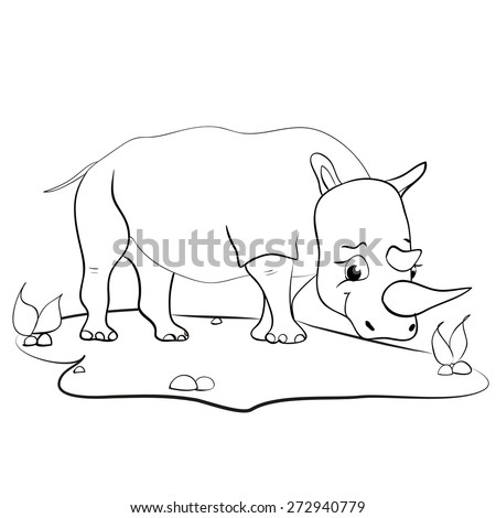 children's coloring book for children with funny rhino - stock vector