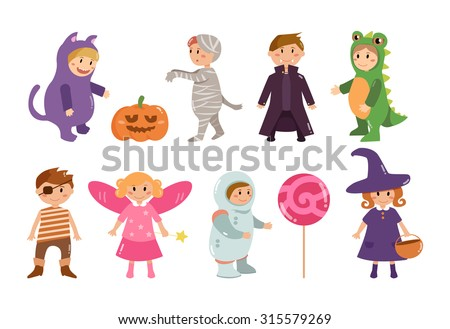 Children's costumes for Halloween. Cat, mummy, vampire, dinosaur, pirate, fairy, astronaut, witch. Pumpkin and candy. Vector isolated illustration. Cartoon characters. - stock vector