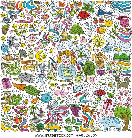 Children's creativity. Vector illustration.