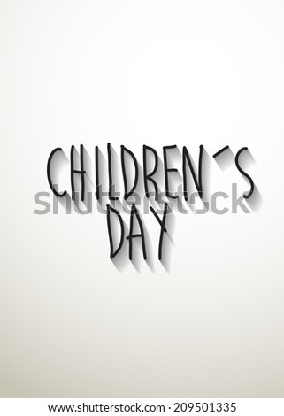 children's day typo with shadow vector,Eps 10 - stock vector
