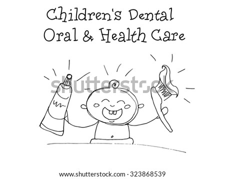 Children`s Dental. Oral and Health Care. Kids Health. Graphics sketch in vector.