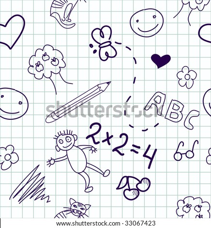 Children's drawings. Seamless background. - stock vector