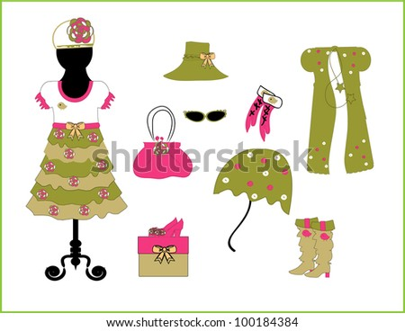 Children's fashion and accessories vector