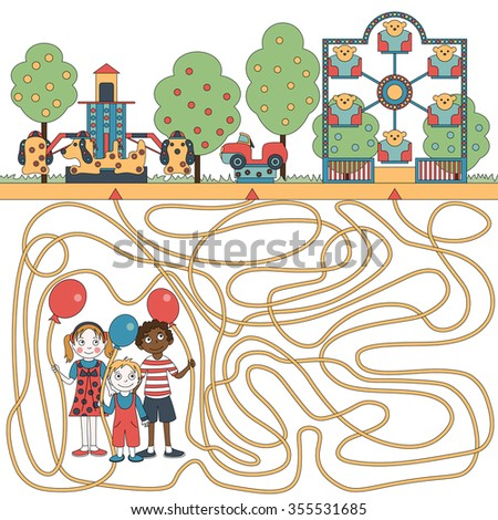 Children's game (maze): children ride on the carousel. Developing labyrinth for children. The picture shows boy, girl, balloon, carousel. - stock vector