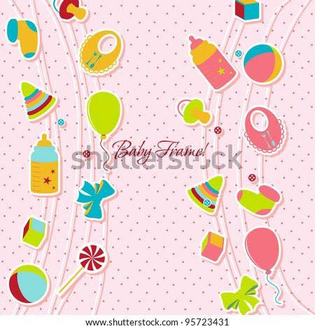 Children's Greeting Card. Vector illustration. - stock vector