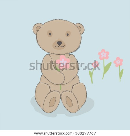 Children's illustration, bear with flowers. Cartoon style. Blue background
