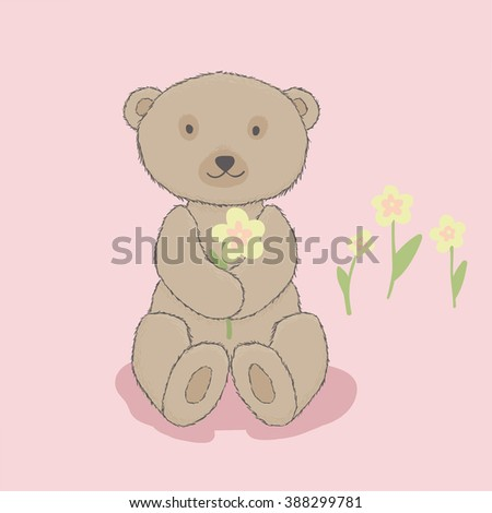 Children's illustration, bear with flowers. Cartoon style. Pink background