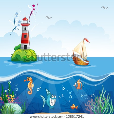 Children's illustration with lighthouse and sailboat. On the sea floor, and funny fish - stock vector