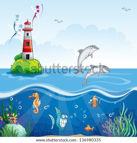 Children's illustrations of the lighthouse and the sea dolphins. - stock vector