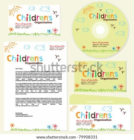 Children's organization template, childish doodle set - stock vector