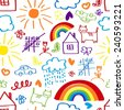Children's painting background, a child's drawing seamless pattern - stock vector