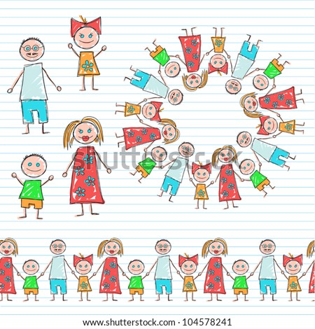Children's painting (family) - stock vector