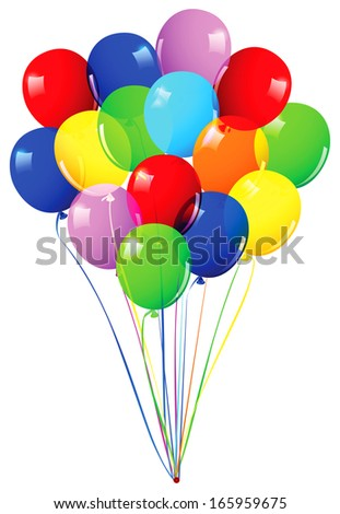 Children's party colorful balloons isolated on white - stock vector