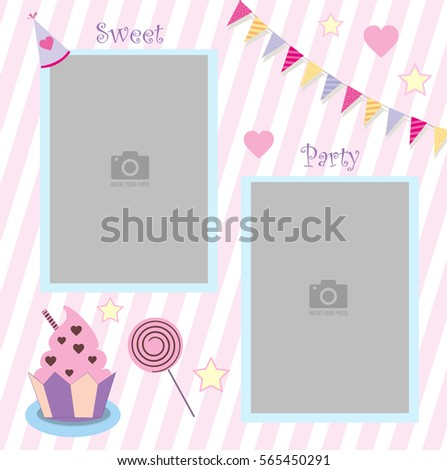 Children's photo frame Happy birthday. Pink and white stripe background vector