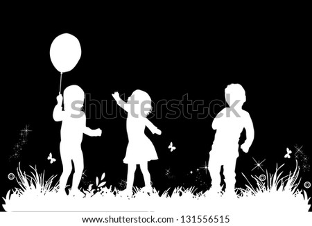 Children's play in the meadow - stock vector