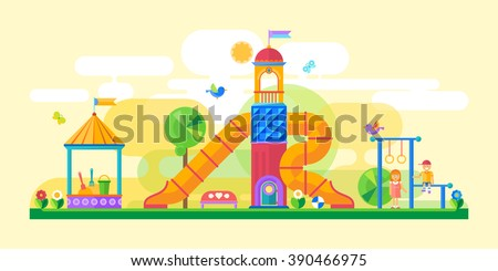 Children's playground. Flat style - stock vector