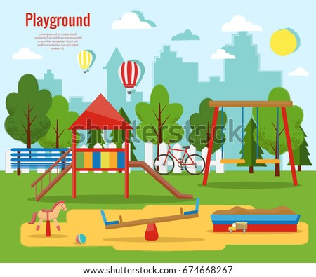 Childrens Playground Vector Illustration Stock Vector ...
