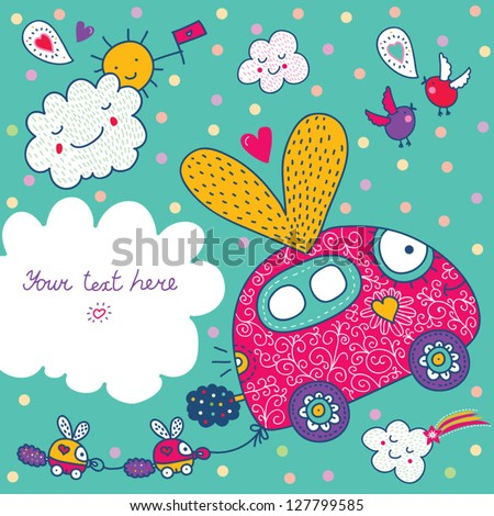 Children's postcard about the flying machine. - stock vector