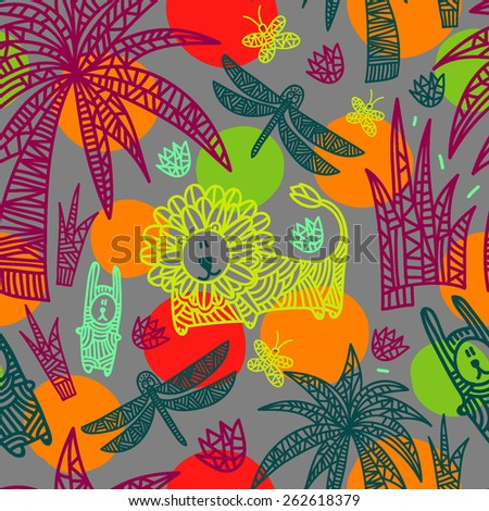 Children's seamless pattern with african animals and plants. Vector hand drawn colorful illustration with lion, rabbits, dragonflies, butterflies, flowers and palms. Gray background with circles. - stock vector