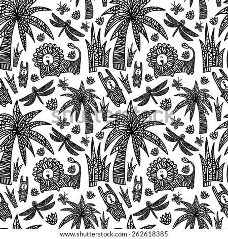 Children's seamless pattern with african animals and plants. Vector hand drawn colorful illustration with lion, rabbits, dragonflies, butterflies, flowers and palms. Black and white background. - stock vector