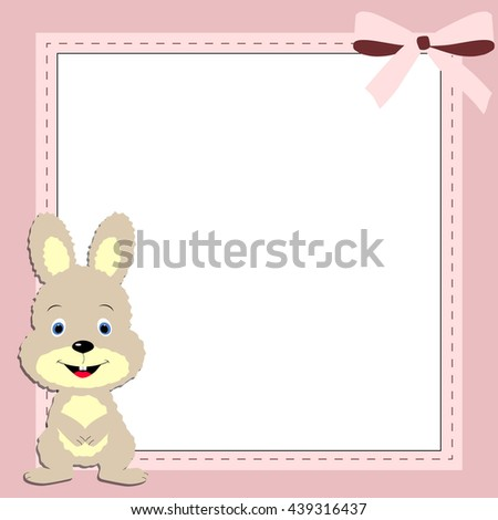 Childrens Square Pink Frame Bunny Template Stock Vector 439316437 ...