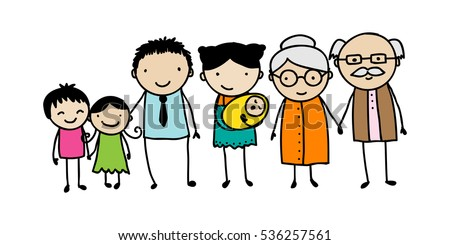 Children's style drawing of a traditional family with children, parents and grandparents.