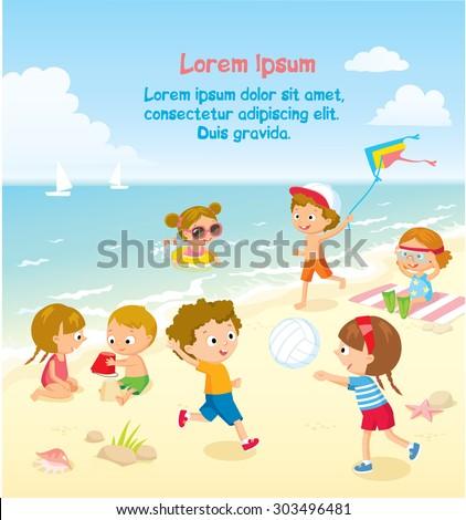 children's summer activities - stock vector
