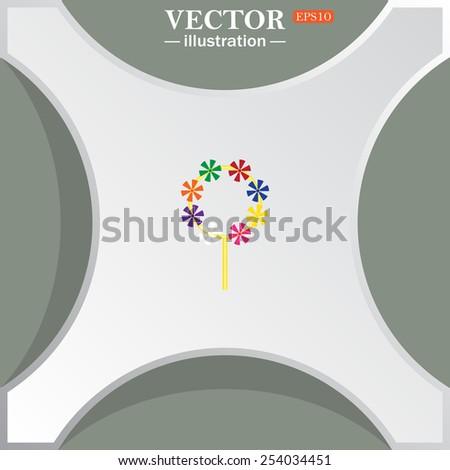 Children's toy wind mill, turntables, pinwheel wind vane, vector illustration, EPS 10 - stock vector
