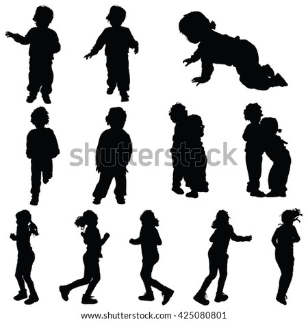 children set cute silhouette illustration