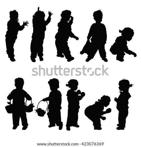 children set happy silhouette illustration - stock vector