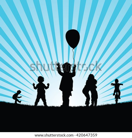 children set play in nature silhouette illustration colorful