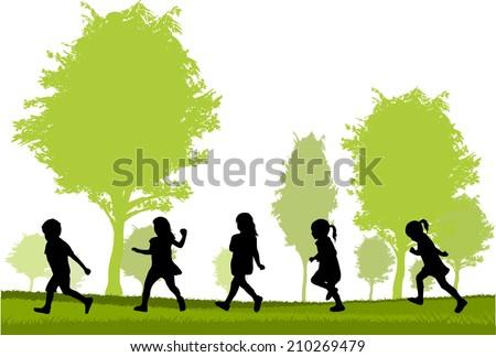children silhouette - stock vector