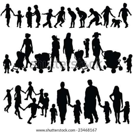 children silhouette collection - vector - stock vector