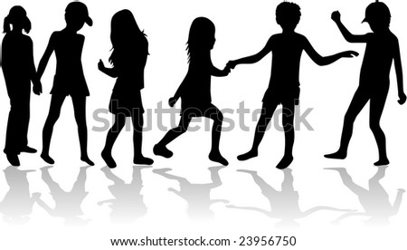 Children silhouette collection - vector work - stock vector