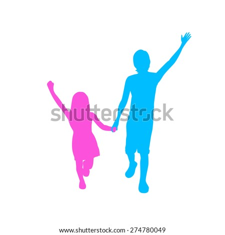 Children Silhouette, Full Length Boy and Girl Holding Hands Up, Two Kids Vector Illustration - stock vector