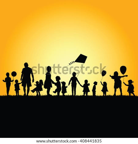 children silhouette illustration play in nature - stock vector