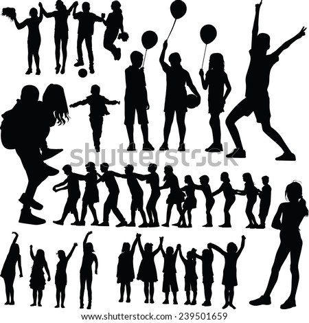 children silhouette vector