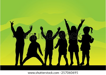 Children silhouettes - stock vector