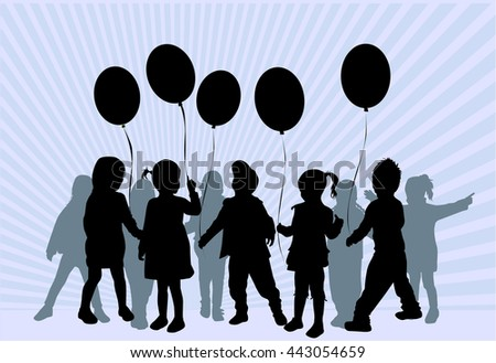 Children silhouettes. Abstract background.