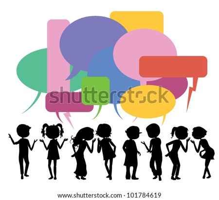 children silhouettes gathering for communication, community and others - stock vector