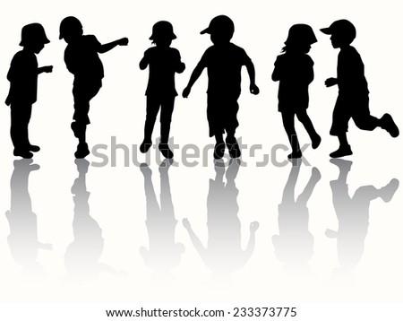 Children silhouettes happy kids - stock vector