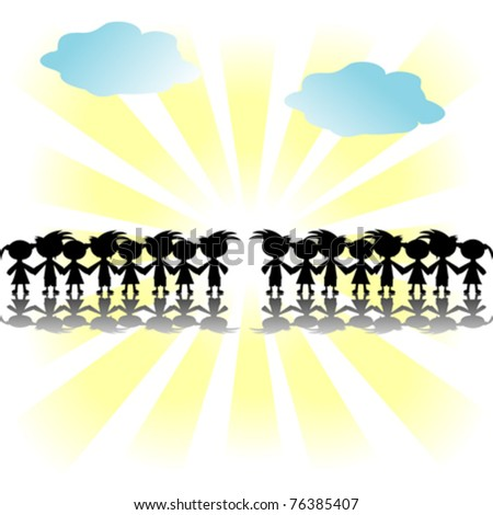 Children silhouettes holding hands on abstract background - stock vector