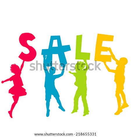 Children silhouettes holding letters with message SALE in the hands - stock vector