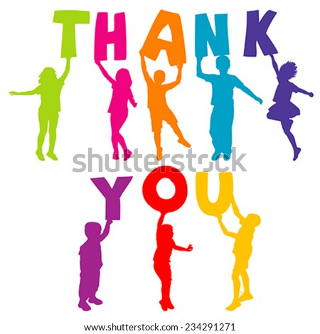Children silhouettes holding letters with THANK YOU - stock vector