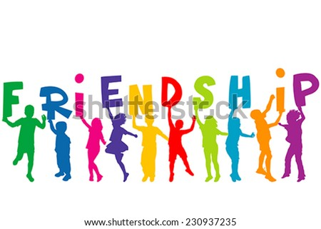 Children silhouettes holding letters with word FRIENDSHIP - stock vector